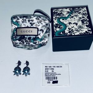 Gucci NWT very rare tiger crystal drop earrings